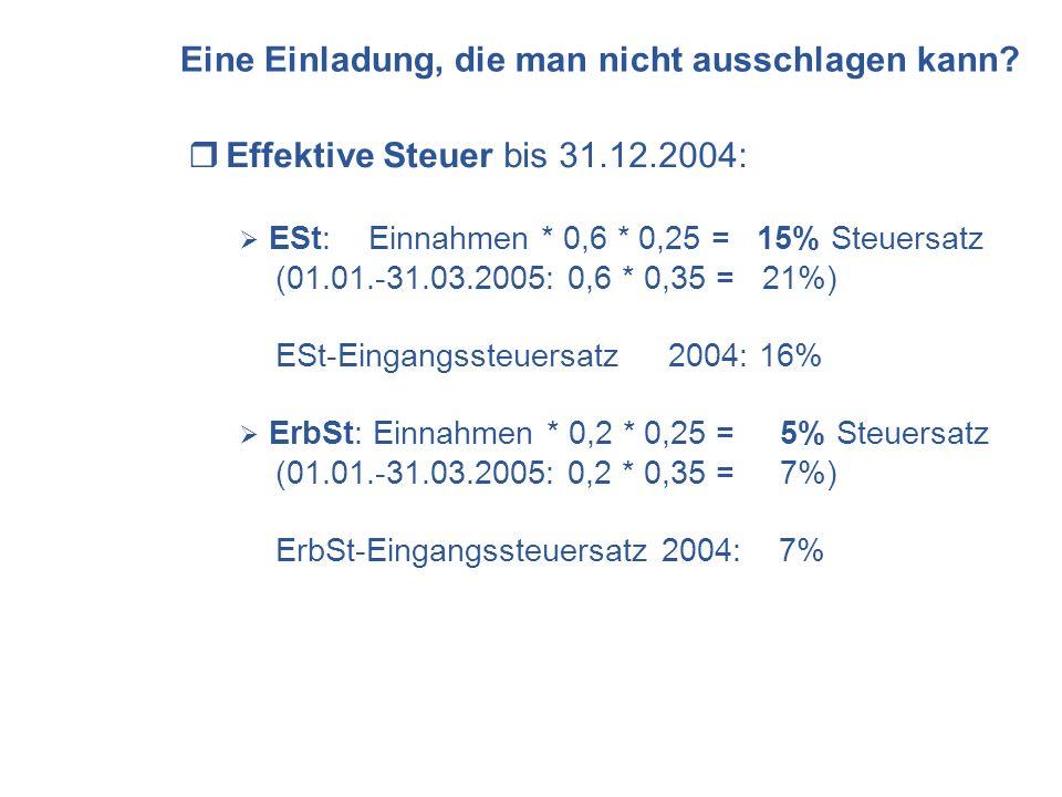 Eine Einladung, die man nicht ausschlagen kann? Effektive Steuer bis 31.12.2004: ESt: Einnahmen * 0,6 * 0,25 = 15% Steuersatz (01.01.-31.03.2005: 0,6
