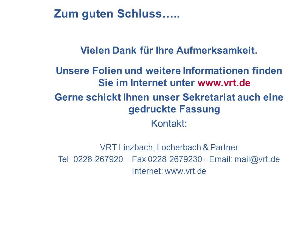 Vielen Dank für Ihre Aufmerksamkeit. Unsere Folien und weitere Informationen finden Sie im Internet unter www.vrt.de Gerne schickt Ihnen unser Sekreta