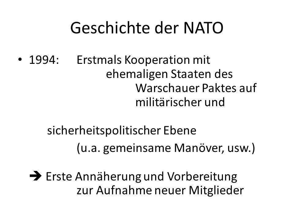 Geschichte der NATO 1994:Erstmals Kooperation mit ehemaligen Staaten des Warschauer Paktes auf militärischer und sicherheitspolitischer Ebene (u.a. ge