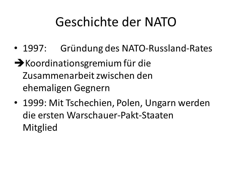 Geschichte der NATO 1997:Gründung des NATO-Russland-Rates Koordinationsgremium für die Zusammenarbeit zwischen den ehemaligen Gegnern 1999: Mit Tschec