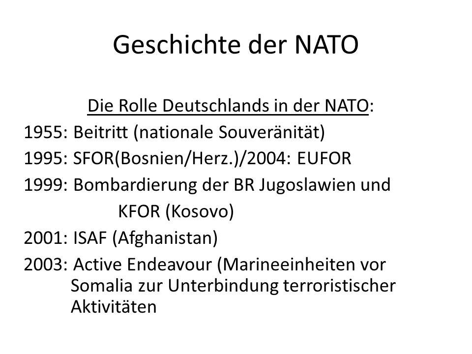 Geschichte der NATO Die Rolle Deutschlands in der NATO: 1955: Beitritt (nationale Souveränität) 1995: SFOR(Bosnien/Herz.)/2004: EUFOR 1999: Bombardier