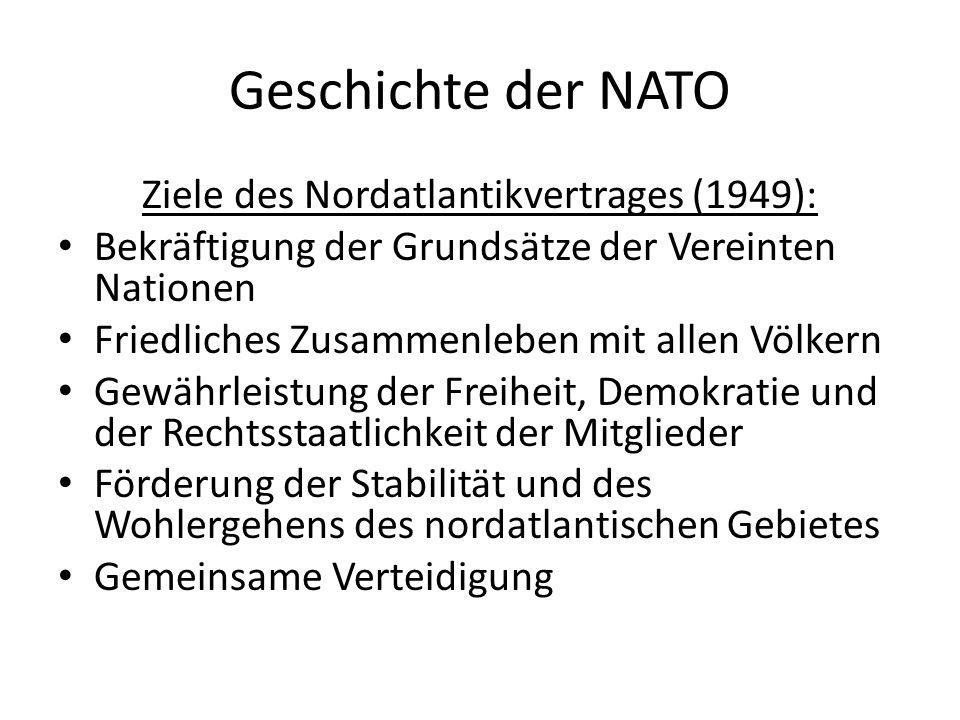 Geschichte der NATO Ziele des Nordatlantikvertrages (1949): Bekräftigung der Grundsätze der Vereinten Nationen Friedliches Zusammenleben mit allen Völ