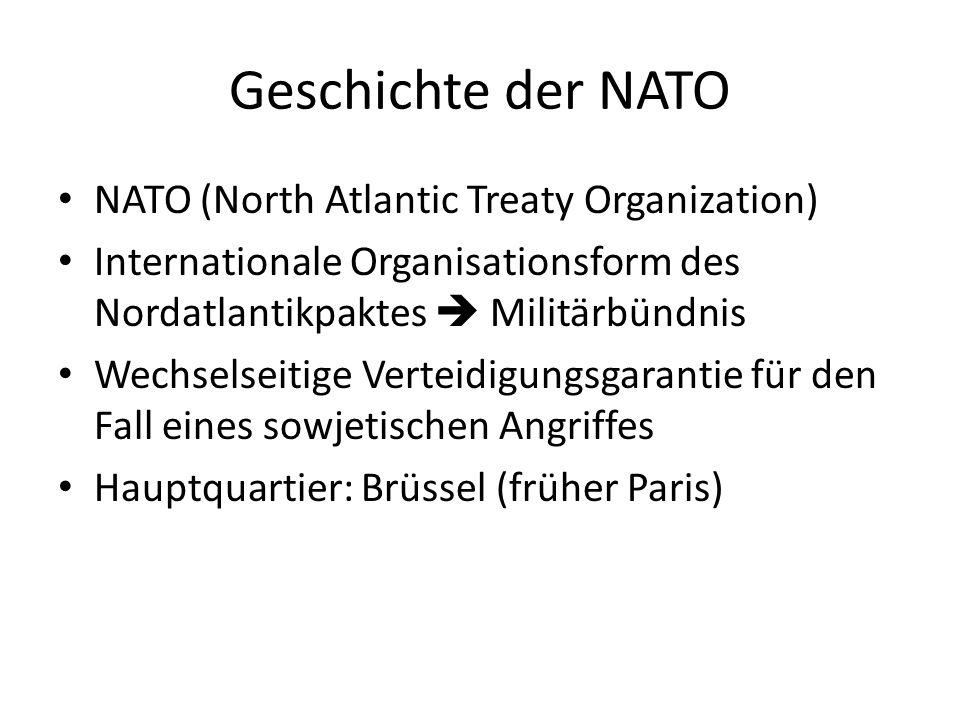 Geschichte der NATO NATO (North Atlantic Treaty Organization) Internationale Organisationsform des Nordatlantikpaktes Militärbündnis Wechselseitige Ve