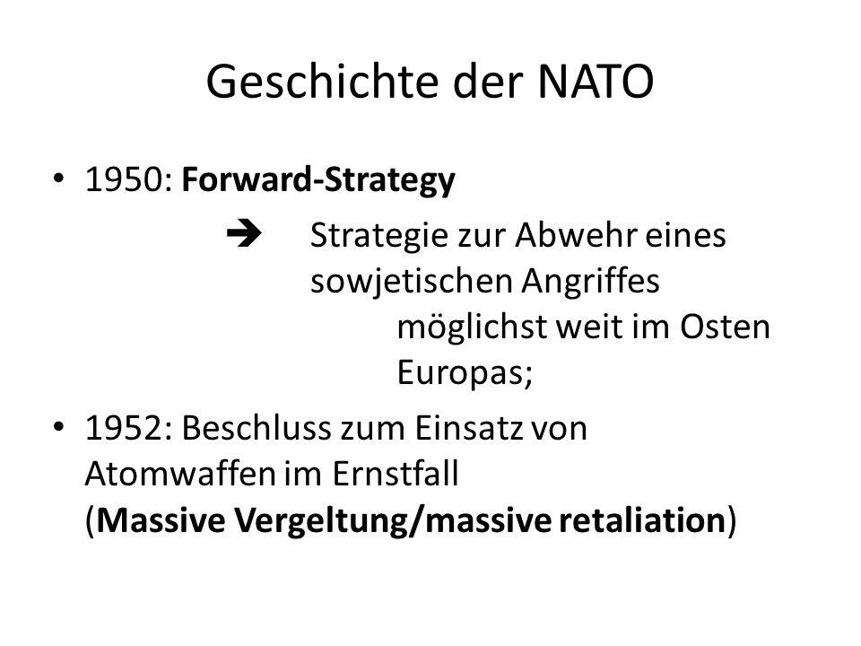 Geschichte der NATO 1950: Forward-Strategy Strategie zur Abwehr eines sowjetischen Angriffes möglichst weit im Osten Europas; 1952: Beschluss zum Eins