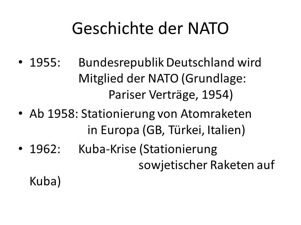 Geschichte der NATO 1955:Bundesrepublik Deutschland wird Mitglied der NATO (Grundlage: Pariser Verträge, 1954) Ab 1958: Stationierung von Atomraketen