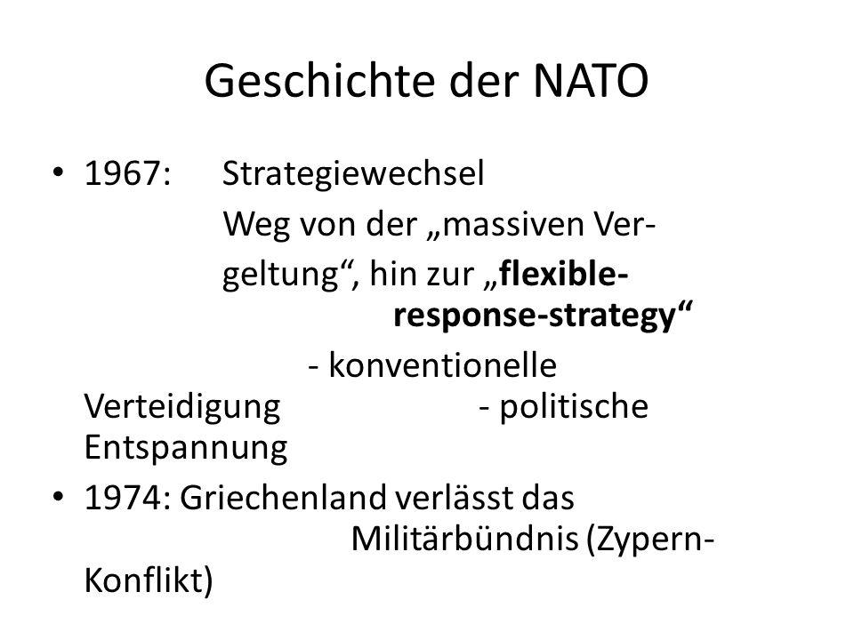Geschichte der NATO 1967:Strategiewechsel Weg von der massiven Ver- geltung, hin zur flexible- response-strategy - konventionelle Verteidigung- politi