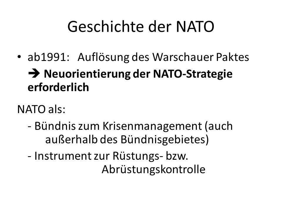 Geschichte der NATO ab1991: Auflösung des Warschauer Paktes Neuorientierung der NATO-Strategie erforderlich NATO als: - Bündnis zum Krisenmanagement (