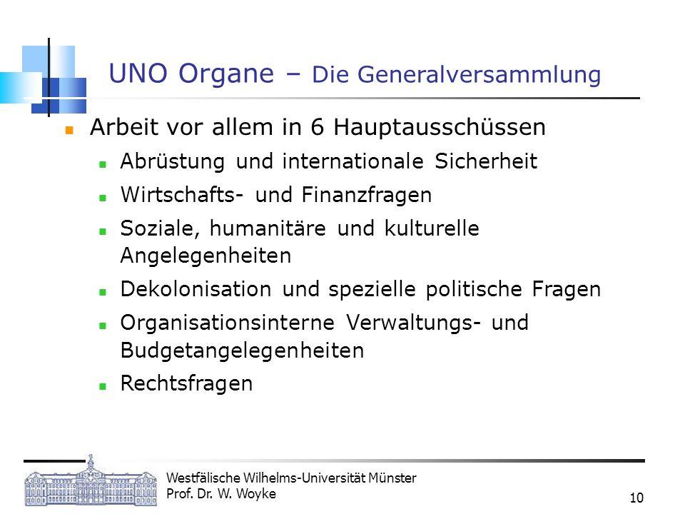 Westfälische Wilhelms-Universität Münster Prof. Dr. W. Woyke 10 UNO Organe – Die Generalversammlung Arbeit vor allem in 6 Hauptausschüssen Abrüstung u