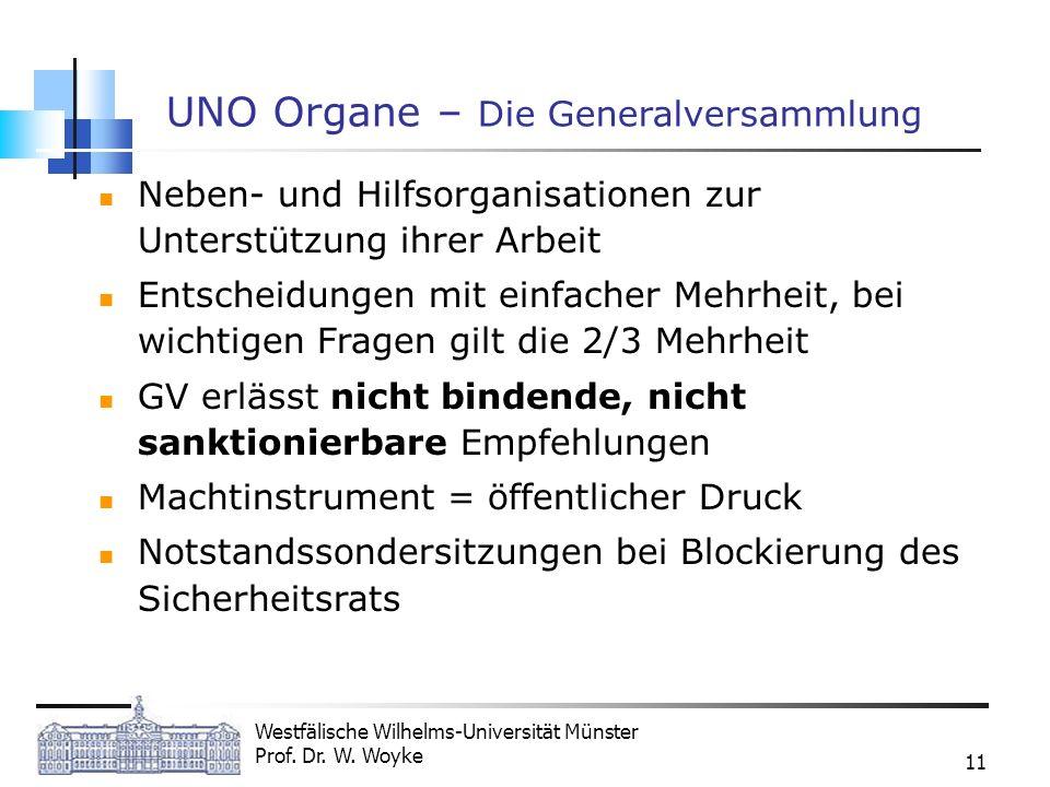 Westfälische Wilhelms-Universität Münster Prof. Dr. W. Woyke 11 UNO Organe – Die Generalversammlung Neben- und Hilfsorganisationen zur Unterstützung i