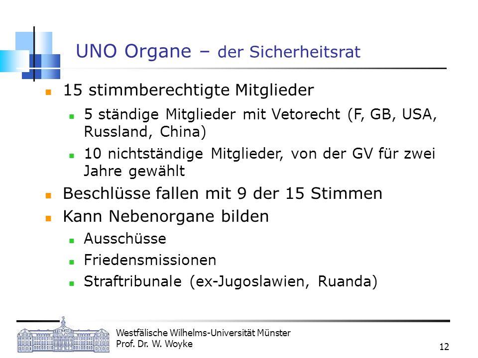 Westfälische Wilhelms-Universität Münster Prof. Dr. W. Woyke 12 UNO Organe – der Sicherheitsrat 15 stimmberechtigte Mitglieder 5 ständige Mitglieder m