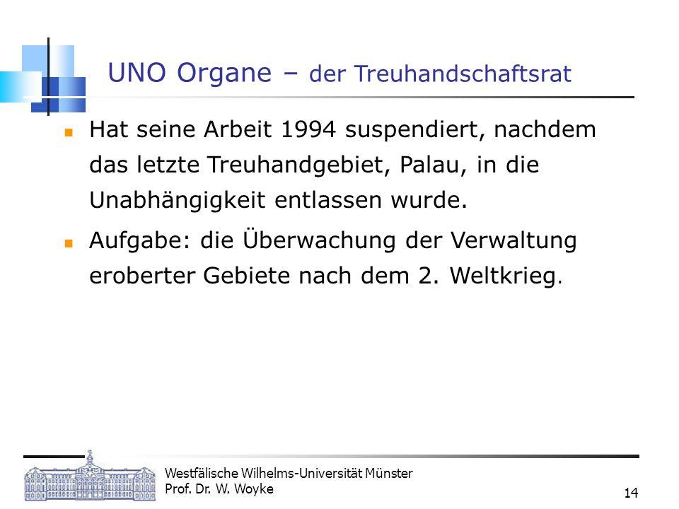 Westfälische Wilhelms-Universität Münster Prof. Dr. W. Woyke 14 UNO Organe – der Treuhandschaftsrat Hat seine Arbeit 1994 suspendiert, nachdem das let