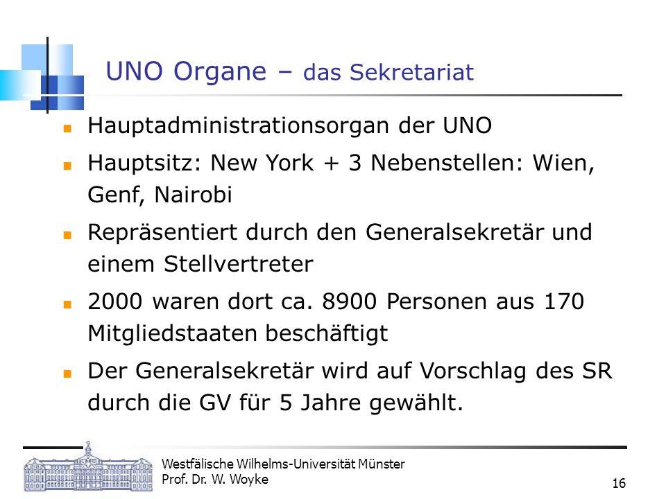 Westfälische Wilhelms-Universität Münster Prof. Dr. W. Woyke 16 UNO Organe – das Sekretariat Hauptadministrationsorgan der UNO Hauptsitz: New York + 3