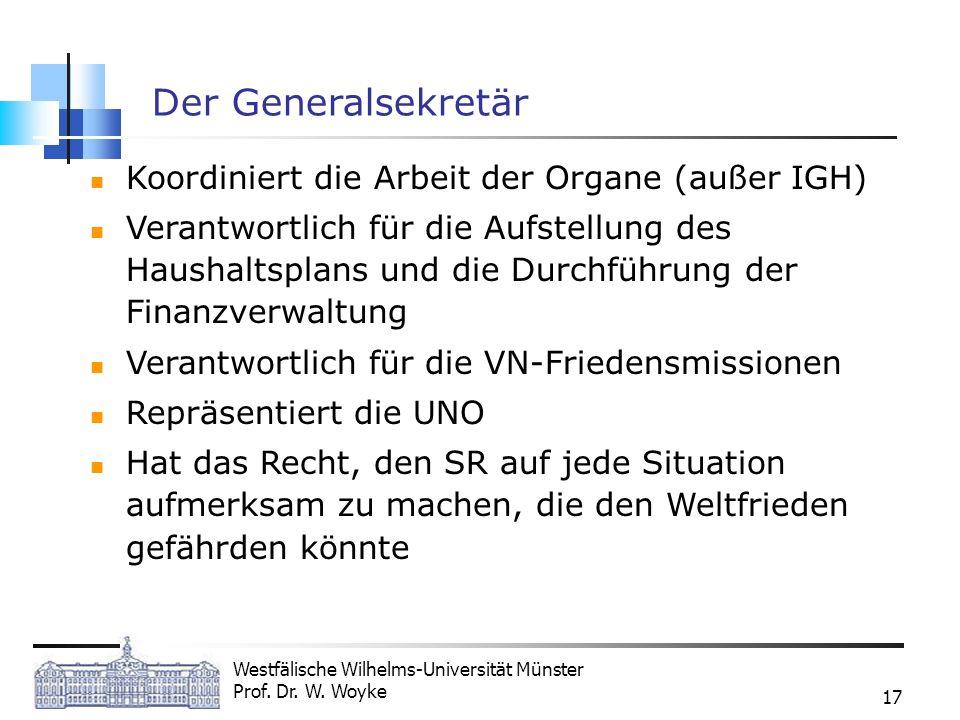 Westfälische Wilhelms-Universität Münster Prof. Dr. W. Woyke 17 Der Generalsekretär Koordiniert die Arbeit der Organe (außer IGH) Verantwortlich für d