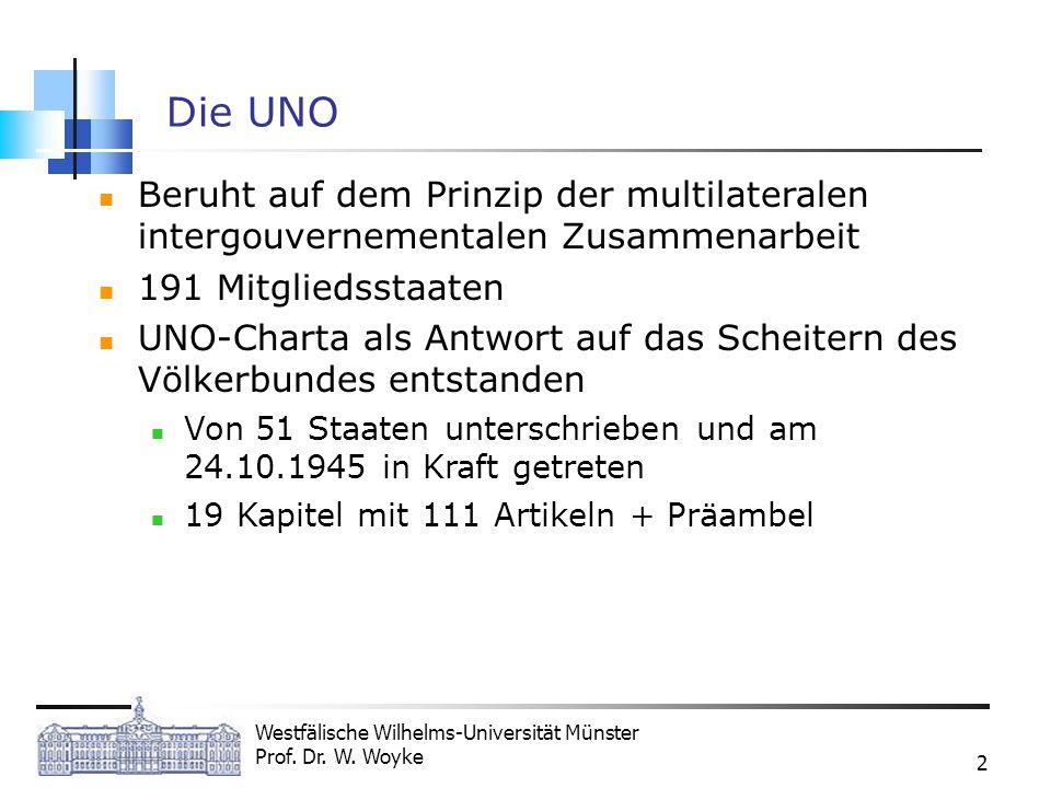 Westfälische Wilhelms-Universität Münster Prof. Dr. W. Woyke 2 Die UNO Beruht auf dem Prinzip der multilateralen intergouvernementalen Zusammenarbeit