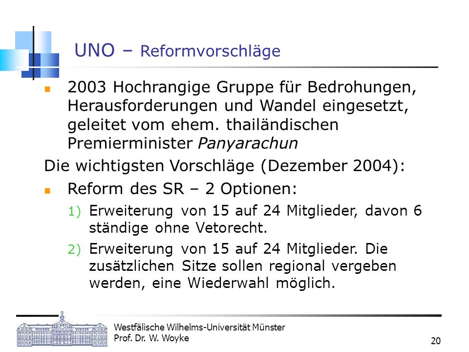 Westfälische Wilhelms-Universität Münster Prof. Dr. W. Woyke 20 UNO – Reformvorschläge 2003 Hochrangige Gruppe für Bedrohungen, Herausforderungen und