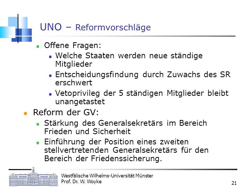 Westfälische Wilhelms-Universität Münster Prof. Dr. W. Woyke 21 UNO – Reformvorschläge Offene Fragen: Welche Staaten werden neue ständige Mitglieder E