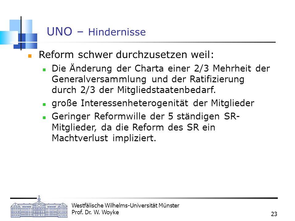 Westfälische Wilhelms-Universität Münster Prof. Dr. W. Woyke 23 UNO – Hindernisse Reform schwer durchzusetzen weil: Die Änderung der Charta einer 2/3