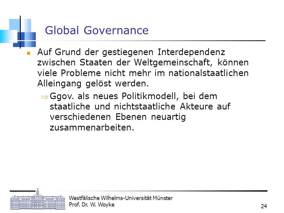 Westfälische Wilhelms-Universität Münster Prof. Dr. W. Woyke 24 Global Governance Auf Grund der gestiegenen Interdependenz zwischen Staaten der Weltge