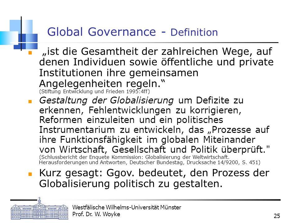 Westfälische Wilhelms-Universität Münster Prof. Dr. W. Woyke 25 Global Governance - Definition ist die Gesamtheit der zahlreichen Wege, auf denen Indi