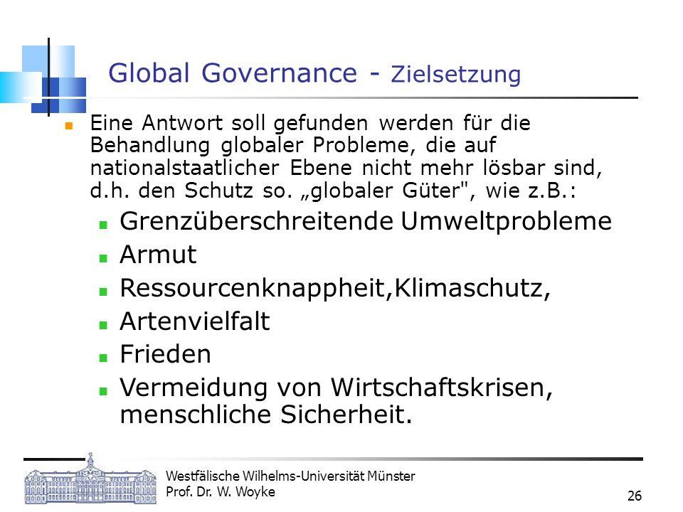 Westfälische Wilhelms-Universität Münster Prof. Dr. W. Woyke 26 Global Governance - Zielsetzung Eine Antwort soll gefunden werden für die Behandlung g
