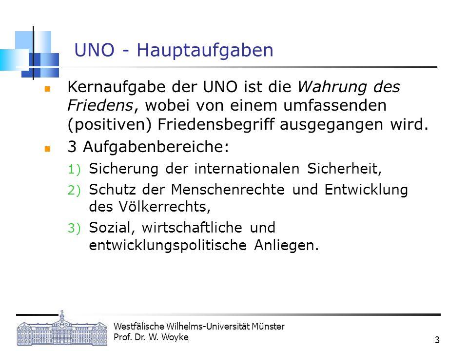 Westfälische Wilhelms-Universität Münster Prof. Dr. W. Woyke 3 UNO - Hauptaufgaben Kernaufgabe der UNO ist die Wahrung des Friedens, wobei von einem u