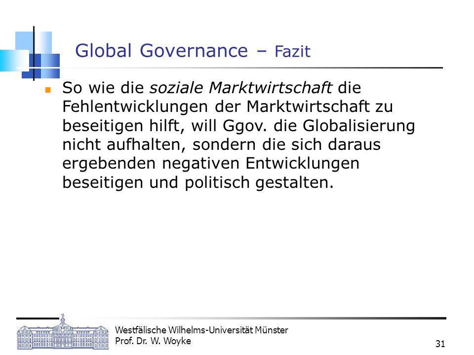Westfälische Wilhelms-Universität Münster Prof. Dr. W. Woyke 31 Global Governance – Fazit So wie die soziale Marktwirtschaft die Fehlentwicklungen der