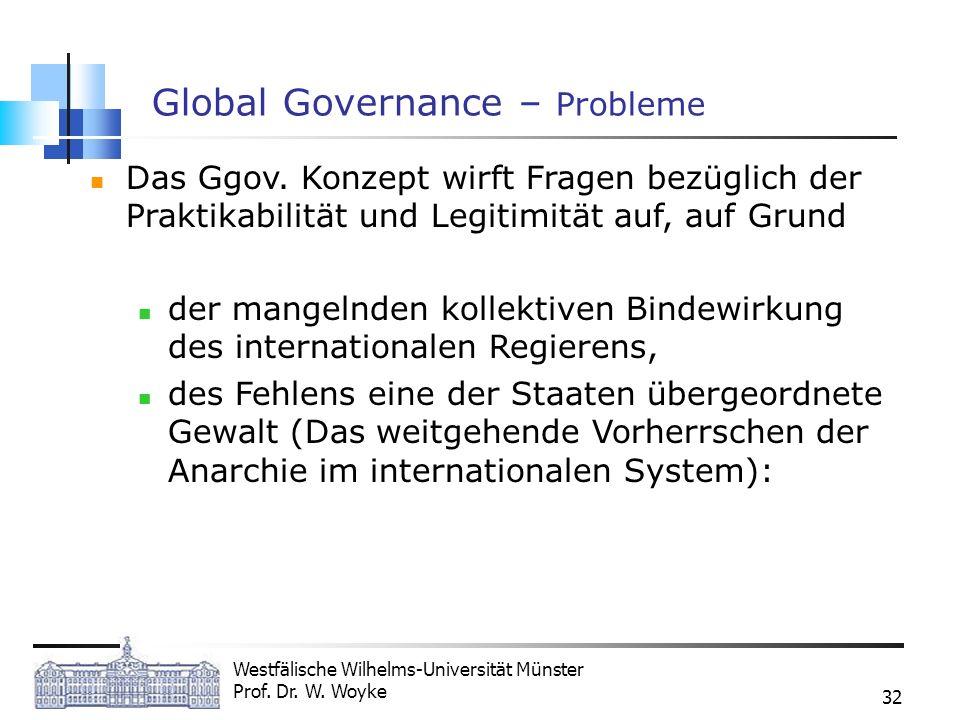 Westfälische Wilhelms-Universität Münster Prof. Dr. W. Woyke 32 Global Governance – Probleme Das Ggov. Konzept wirft Fragen bezüglich der Praktikabili