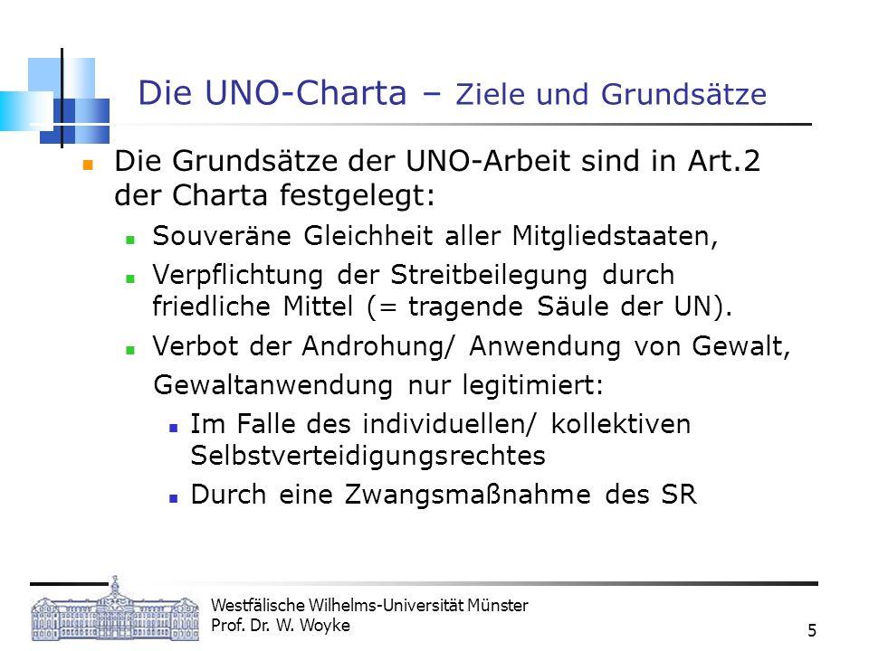 Westfälische Wilhelms-Universität Münster Prof. Dr. W. Woyke 5 Die UNO-Charta – Ziele und Grundsätze Die Grundsätze der UNO-Arbeit sind in Art.2 der C