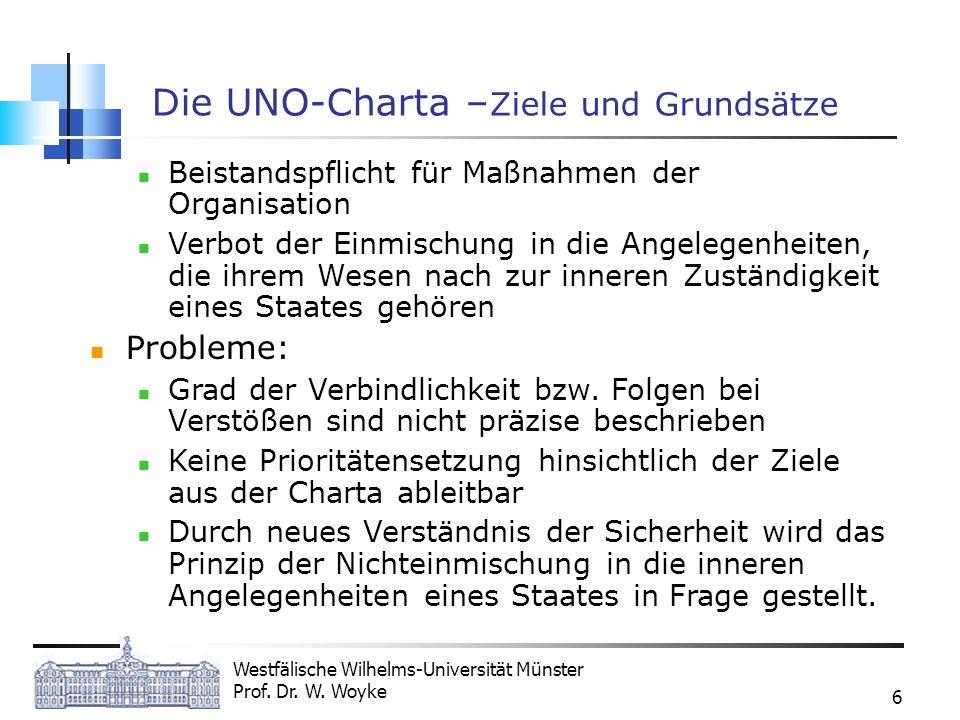 Westfälische Wilhelms-Universität Münster Prof. Dr. W. Woyke 6 Die UNO-Charta – Ziele und Grundsätze Beistandspflicht für Maßnahmen der Organisation V
