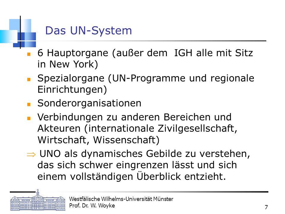 Westfälische Wilhelms-Universität Münster Prof. Dr. W. Woyke 7 Das UN-System 6 Hauptorgane (außer dem IGH alle mit Sitz in New York) Spezialorgane (UN