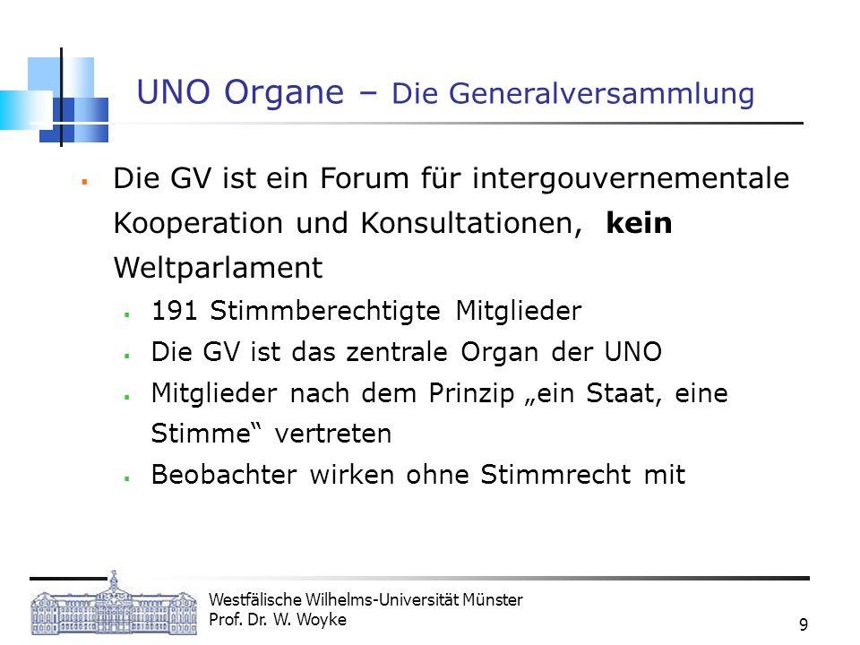 Westfälische Wilhelms-Universität Münster Prof. Dr. W. Woyke 9 UNO Organe – Die Generalversammlung Die GV ist ein Forum für intergouvernementale Koope