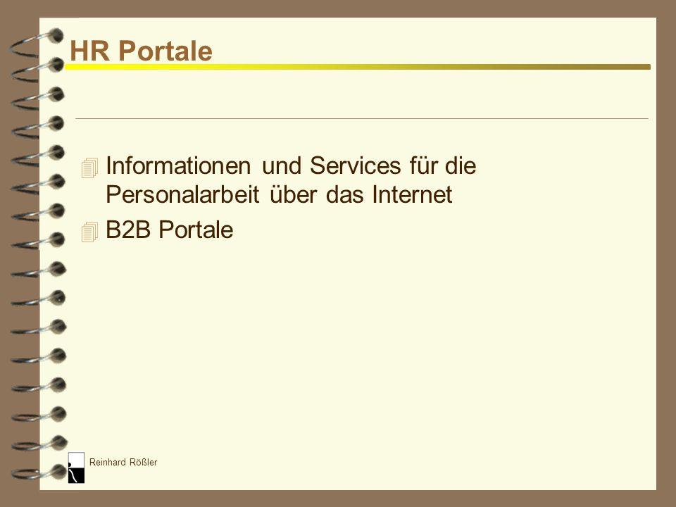 Reinhard Rößler Formen des E-HR 4 HR Portale 4 E-Recruiting 4 E-Learning 4 E-Administration / E-Self Service 4 MA Portale