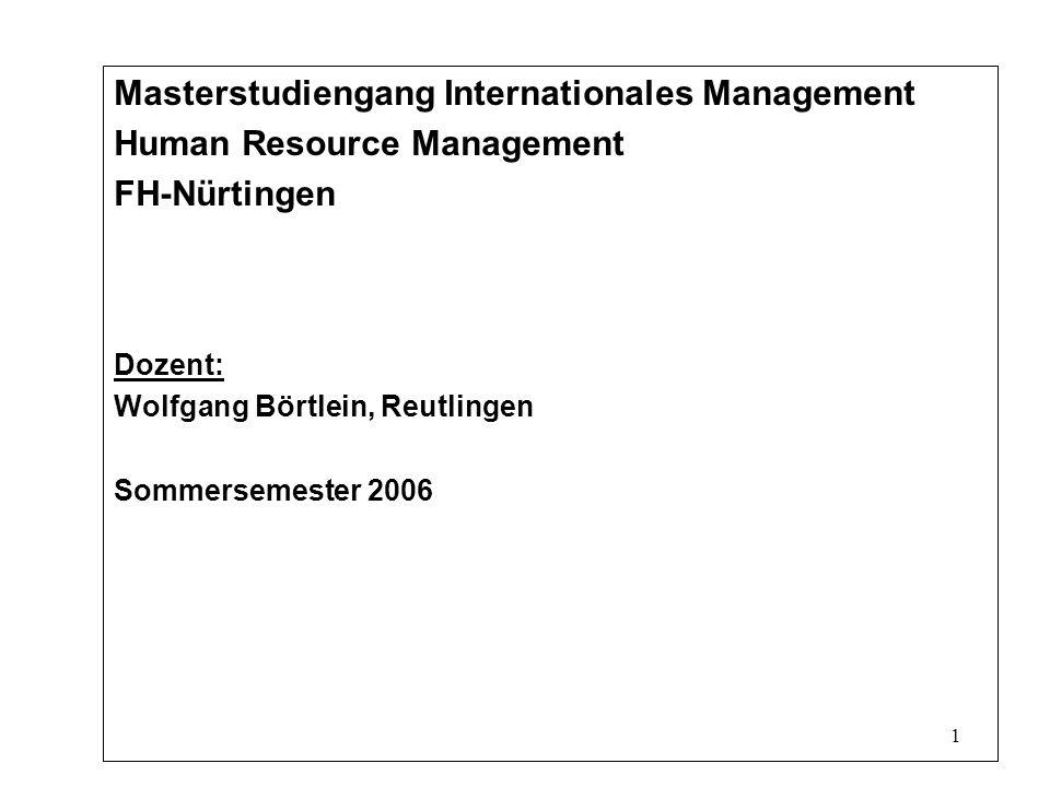 1 Masterstudiengang Internationales Management Human Resource Management FH-Nürtingen Dozent: Wolfgang Börtlein, Reutlingen Sommersemester 2006