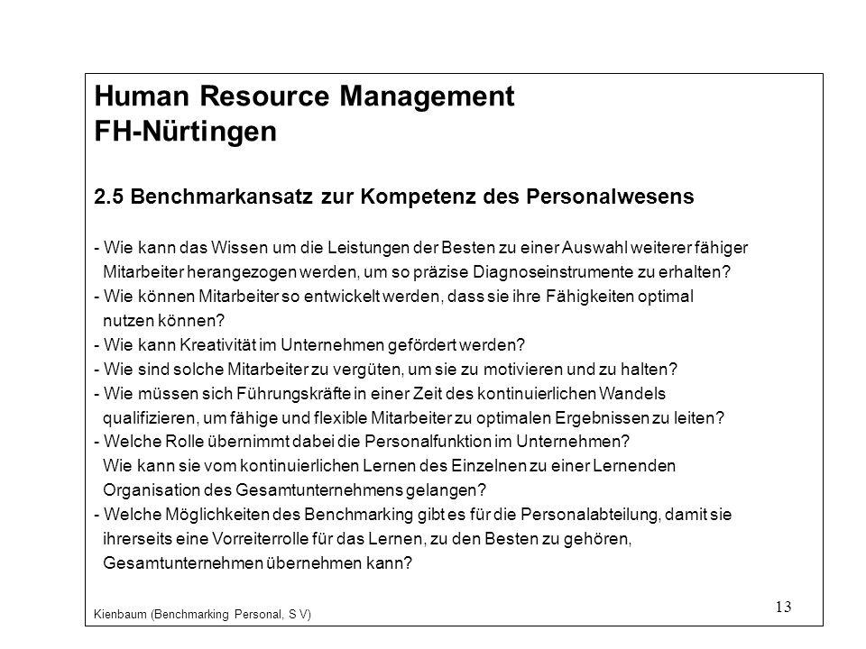 13 Human Resource Management FH-Nürtingen 2.5 Benchmarkansatz zur Kompetenz des Personalwesens - Wie kann das Wissen um die Leistungen der Besten zu einer Auswahl weiterer fähiger Mitarbeiter herangezogen werden, um so präzise Diagnoseinstrumente zu erhalten.