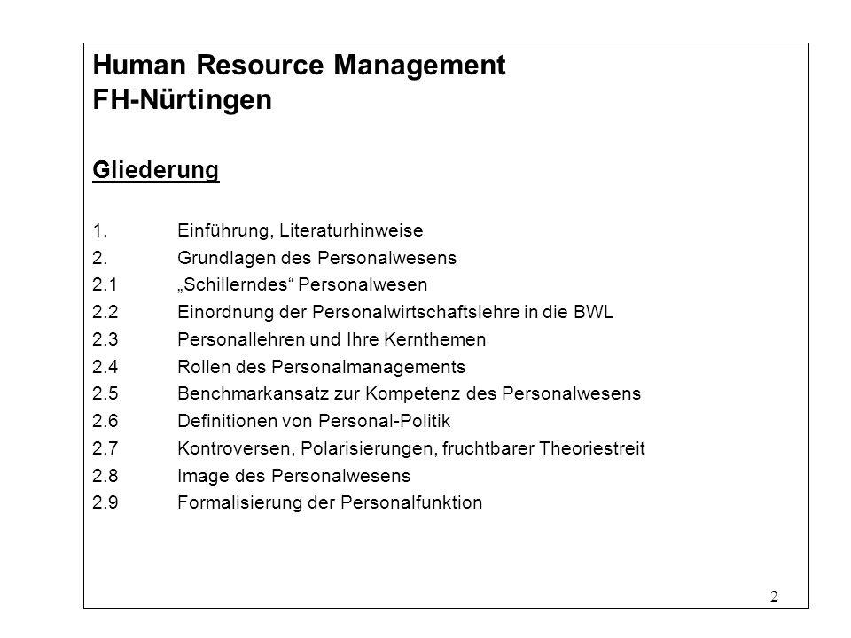 2 Human Resource Management FH-Nürtingen Gliederung 1.Einführung, Literaturhinweise 2.