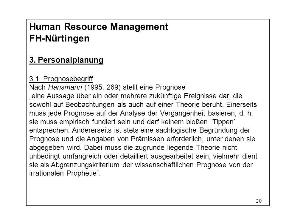 20 Human Resource Management FH-Nürtingen 3.Personalplanung 3.1.