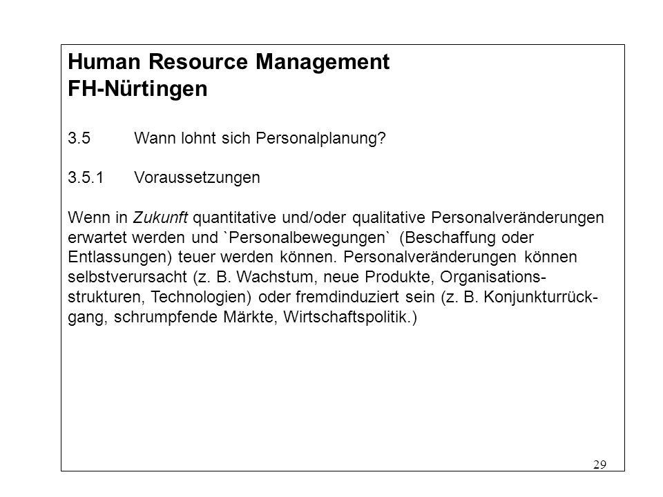29 Human Resource Management FH-Nürtingen 3.5Wann lohnt sich Personalplanung.