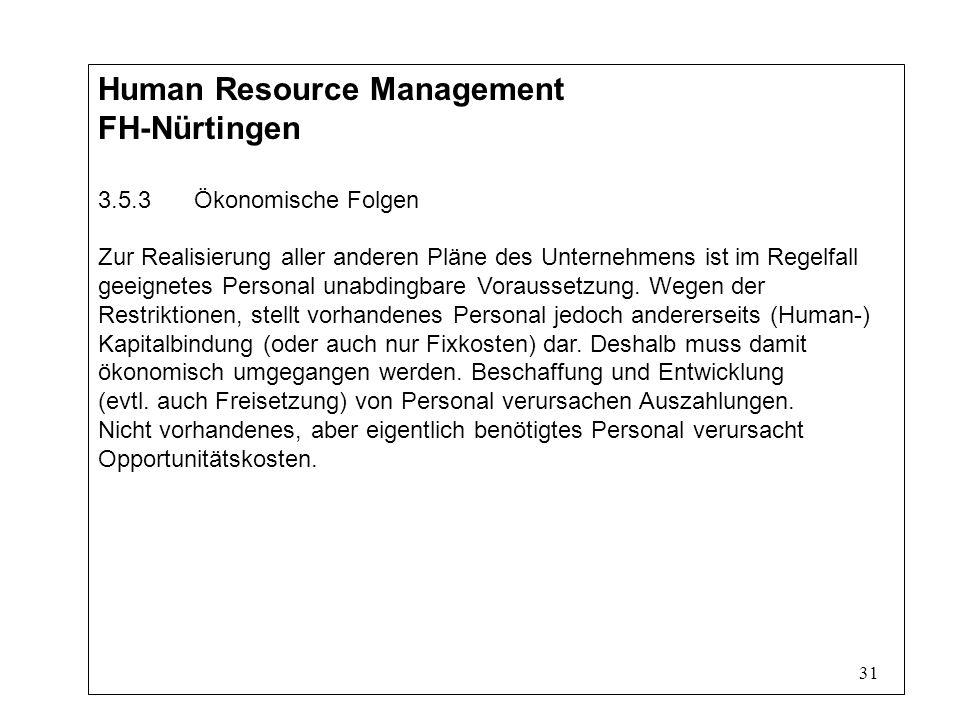 31 Human Resource Management FH-Nürtingen 3.5.3Ökonomische Folgen Zur Realisierung aller anderen Pläne des Unternehmens ist im Regelfall geeignetes Personal unabdingbare Voraussetzung.
