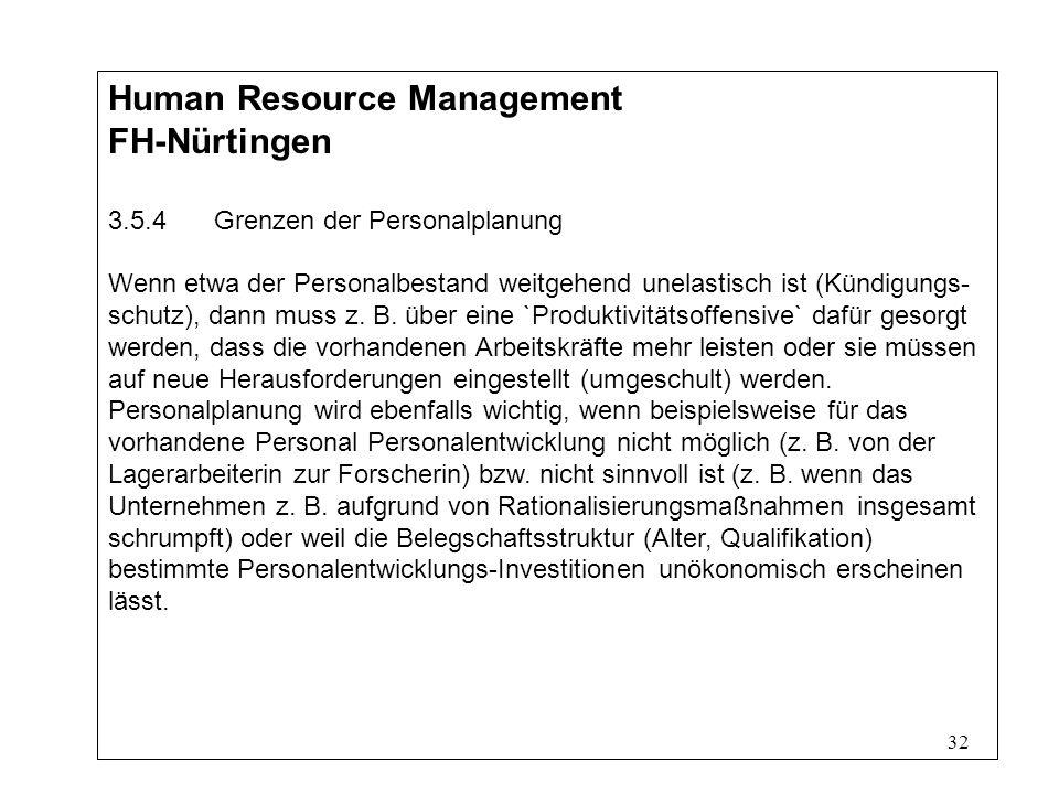 32 Human Resource Management FH-Nürtingen 3.5.4Grenzen der Personalplanung Wenn etwa der Personalbestand weitgehend unelastisch ist (Kündigungs- schutz), dann muss z.