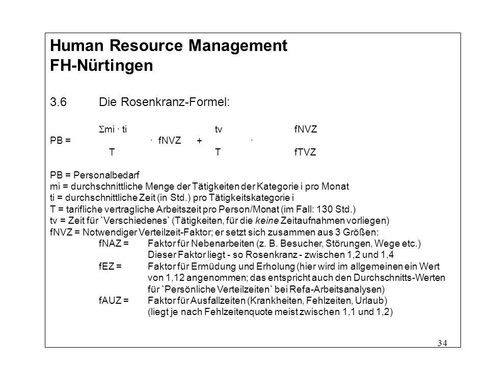 34 Human Resource Management FH-Nürtingen 3.6Die Rosenkranz-Formel: mi · ti tvfNVZ PB = · fNVZ+ · T TfTVZ PB = Personalbedarf mi = durchschnittliche Menge der Tätigkeiten der Kategorie i pro Monat ti = durchschnittliche Zeit (in Std.) pro Tätigkeitskategorie i T = tarifliche vertragliche Arbeitszeit pro Person/Monat (im Fall: 130 Std.) tv = Zeit für `Verschiedenes` (Tätigkeiten, für die keine Zeitaufnahmen vorliegen) fNVZ = Notwendiger Verteilzeit-Faktor; er setzt sich zusammen aus 3 Größen: fNAZ = Faktor für Nebenarbeiten (z.