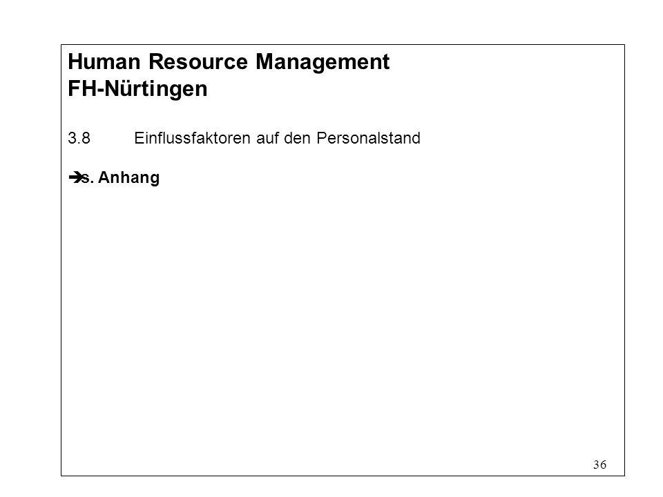 36 Human Resource Management FH-Nürtingen 3.8Einflussfaktoren auf den Personalstand s. Anhang
