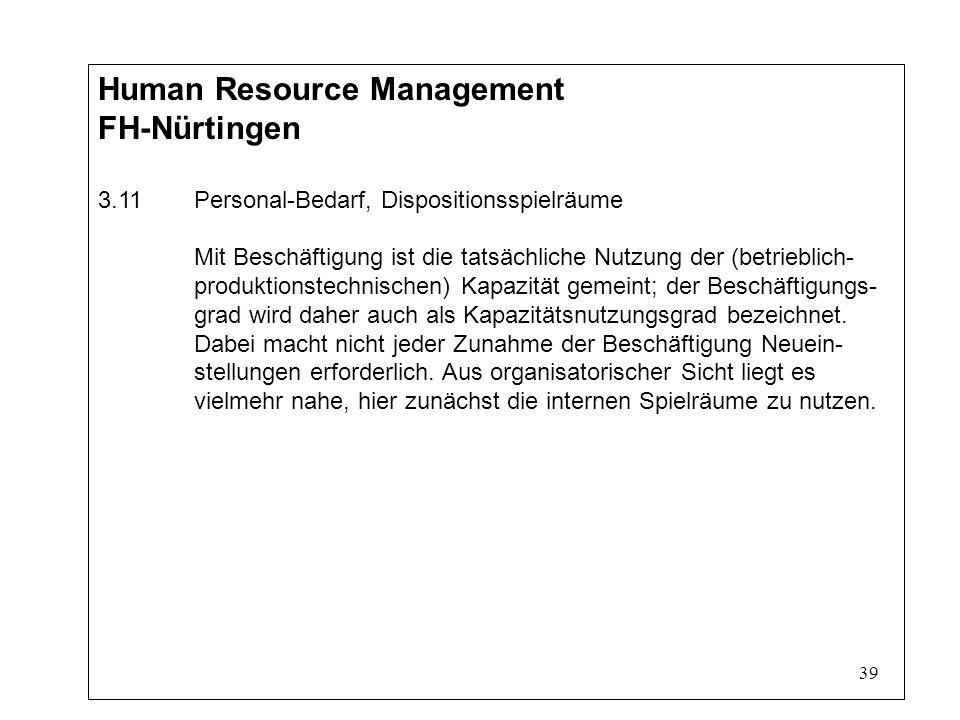 39 Human Resource Management FH-Nürtingen 3.11Personal-Bedarf, Dispositionsspielräume Mit Beschäftigung ist die tatsächliche Nutzung der (betrieblich- produktionstechnischen) Kapazität gemeint; der Beschäftigungs- grad wird daher auch als Kapazitätsnutzungsgrad bezeichnet.