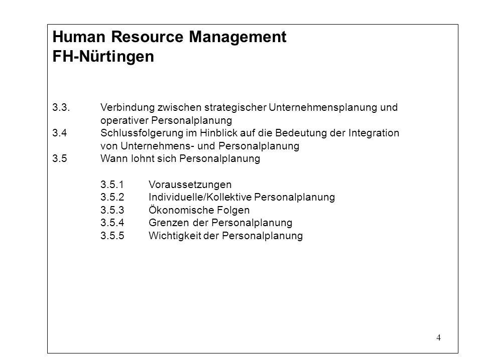 4 Human Resource Management FH-Nürtingen 3.3.Verbindung zwischen strategischer Unternehmensplanung und operativer Personalplanung 3.4Schlussfolgerung im Hinblick auf die Bedeutung der Integration von Unternehmens- und Personalplanung 3.5Wann lohnt sich Personalplanung 3.5.1Voraussetzungen 3.5.2Individuelle/Kollektive Personalplanung 3.5.3Ökonomische Folgen 3.5.4Grenzen der Personalplanung 3.5.5Wichtigkeit der Personalplanung