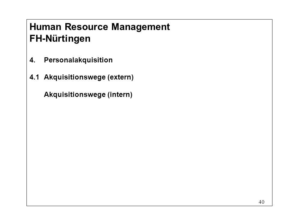 40 Human Resource Management FH-Nürtingen 4.Personalakquisition 4.1Akquisitionswege (extern) Akquisitionswege (intern)