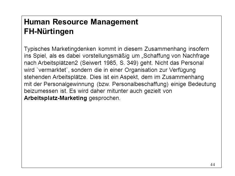 44 Human Resource Management FH-Nürtingen Typisches Marketingdenken kommt in diesem Zusammenhang insofern ins Spiel, als es dabei vorstellungsmäßig um Schaffung von Nachfrage nach Arbeitsplätzen2 (Seiwert 1985, S.