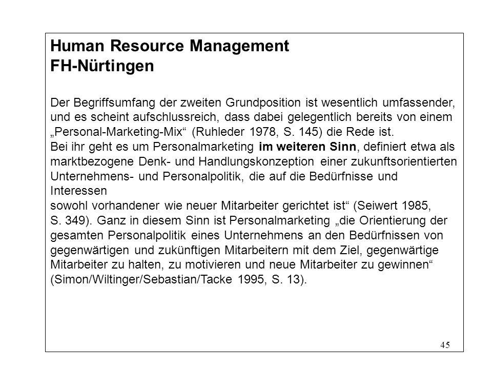 45 Human Resource Management FH-Nürtingen Der Begriffsumfang der zweiten Grundposition ist wesentlich umfassender, und es scheint aufschlussreich, dass dabei gelegentlich bereits von einem Personal-Marketing-Mix (Ruhleder 1978, S.