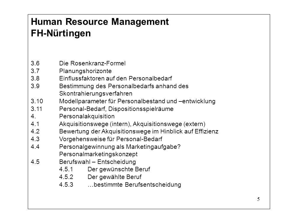 5 Human Resource Management FH-Nürtingen 3.6Die Rosenkranz-Formel 3.7Planungshorizonte 3.8Einflussfaktoren auf den Personalbedarf 3.9Bestimmung des Personalbedarfs anhand des Skontrahierungsverfahren 3.10Modellparameter für Personalbestand und –entwicklung 3.11Personal-Bedarf, Dispositionsspielräume 4.Personalakquisition 4.1Akquisitionswege (intern), Akquisitionswege (extern) 4.2Bewertung der Akquisitionswege im Hinblick auf Effizienz 4.3Vorgehensweise für Personal-Bedarf 4.4Personalgewinnung als Marketingaufgabe.