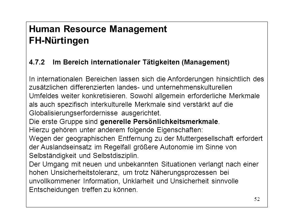 52 Human Resource Management FH-Nürtingen 4.7.2 Im Bereich internationaler Tätigkeiten (Management) In internationalen Bereichen lassen sich die Anforderungen hinsichtlich des zusätzlichen differenzierten landes- und unternehmenskulturellen Umfeldes weiter konkretisieren.
