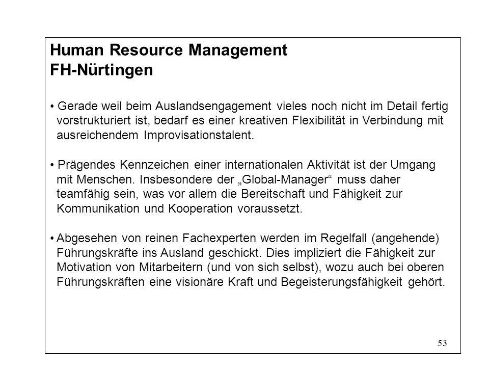 53 Human Resource Management FH-Nürtingen Gerade weil beim Auslandsengagement vieles noch nicht im Detail fertig vorstrukturiert ist, bedarf es einer kreativen Flexibilität in Verbindung mit ausreichendem Improvisationstalent.