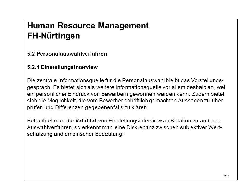69 Human Resource Management FH-Nürtingen 5.2 Personalauswahlverfahren 5.2.1 Einstellungsinterview Die zentrale Informationsquelle für die Personalauswahl bleibt das Vorstellungs- gespräch.